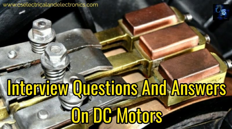 Interview questions and answers on dc motor