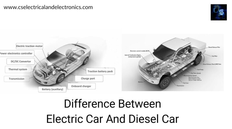 Electric Car And Diesel Car